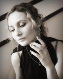 Retro portrait. Portrait of a beautiful girl in retro style (sepia Royalty Free Stock Photos