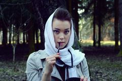 Retro portrait beautiful girl Stock Images