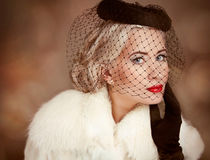 Retro portrait of beautiful woman with makeup and Royalty Free Stock Photos