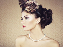 Retro portrait of a beautiful woman. Vintage style Stock Image