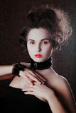 Retro portrait of beautiful woman. Vintage style. Fashion photo stock photography