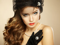Retro portrait of  beautiful woman. Vintage style Royalty Free Stock Photography
