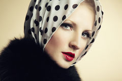 Retro portrait of a beautiful young woman Royalty Free Stock Image