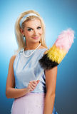 Retro- Portrait der lustigen Hausfrau Stockfotos