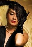 Retro- Portrait der reizenden Frau Stockbilder