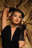 Retro- Portrait der reizenden Frau Lizenzfreies Stockfoto