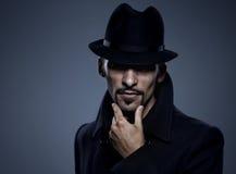 Retro- Portrait des geheimnisvollen Mannes Stockfoto