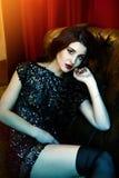 Retro- Portrait einer schönen Frau Lizenzfreie Stockfotografie