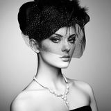 Retro- Portrait einer schönen Frau Abbildung der roten Lilie Stockfotos