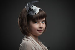 Retro portrait of elegant little girl Stock Image