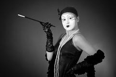 Retro portrait of mime Stock Images