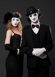 Retro portrait of mimes Stock Photos
