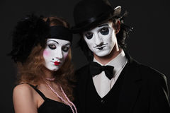 Retro portrait of mimes Stock Images