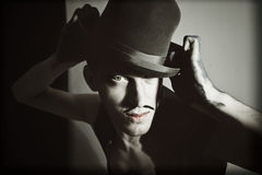 Retro portrait of theatrical actor with a hat Stock Photography
