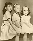 Retro Portrait of Three Girls Stock Photography