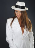 Retro portrait in white hat.  stock photography