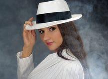 Retro portrait in white hat.  Stock Photo