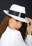 Retro portrait in white hat.  royalty free stock photography