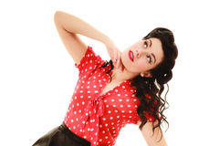 Retro. Portrait of woman girl with pinup hairstyle Stock Photo