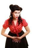 Retro. Portrait of woman girl with pinup hairstyle Royalty Free Stock Photo