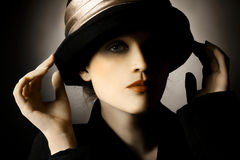 Retro portrait of woman in hat. Elegant vintage fashion lady Royalty Free Stock Images