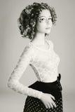Retro portret młoda kobieta Zdjęcia Stock