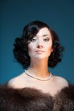 Retro portret van de stijlkleur van een vrouw Stock Afbeelding