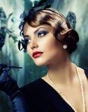 Retro Portret van de Vrouw. Gestileerde wijnoogst stock fotografie