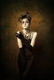 Retro Portret van de Vrouw met zwarte glover Royalty-vrije Stock Foto's