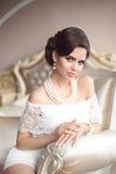 Retro portret van de vrouwen donkerbruine schoonheid Elegante dame met hairstyl Royalty-vrije Stock Fotografie