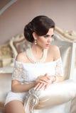 Retro portret van de vrouwen donkerbruine schoonheid Elegante dame met hairstyl Stock Foto's