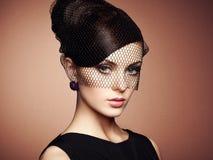 Retro portret van een mooie vrouw Uitstekende stijl stock fotografie