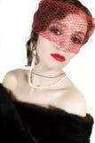 Retro portret van jonge mooie vrouw in sluier Stock Fotografie