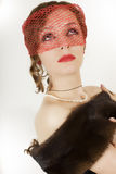 Retro portret van jonge mooie vrouw in sluier Stock Afbeeldingen