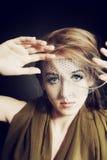 Retro portret van mooie jonge vrouw Stock Fotografie
