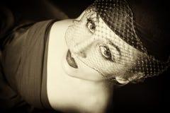 Retro portret van mooie jonge vrouwen Royalty-vrije Stock Foto's