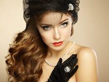 Retro portret van mooie vrouw. Uitstekende stijl royalty-vrije stock fotografie