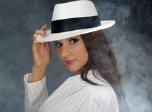 Retro portret in witte hoed Stock Foto