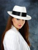 Retro portret in witte hoed Royalty-vrije Stock Foto