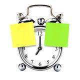 Retro Post-it d'annata di Post-it dell'allarme dell'orologio isolato Fotografie Stock