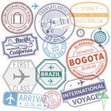 Retro postage airport stamps set. International travel theme, vector illustration Stock Photography