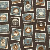Retro Postage Seamless Background. Vector seamless pattern on coffee and coffee house theme with postage stamps and postmarks in royalty free illustration
