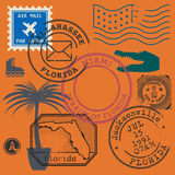 Retro postage stamps set Royalty Free Stock Images