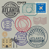 Retro postage stamps set Stock Images