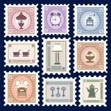 Retro postage stamps Stock Photography