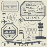 Retro postage USA airport stamps set, Atlanta theme Stock Photo
