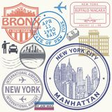 Retro postage USA airport stamps set Royalty Free Stock Photography