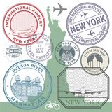 Retro postage USA airport stamps set Royalty Free Stock Photo