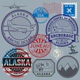 Retro postage USA stamps set Royalty Free Stock Photos