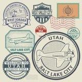 Retro postage USA stamps set Stock Image